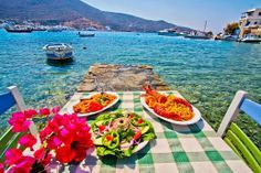 Lunch at a Sea-side Restaurant in Amorgos Island, Greece