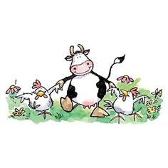 Art Drawings For Kids, Animal Drawings, Cute Drawings, Images Kawaii, Painted Rock Animals, Cartoon Cow, Baby Cows, Cow Painting, Cow Art