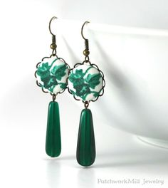 Green Earrings, Dangle Ivy Earrings, Teal Forest Earrings, Czech Glass Beads, Fabric Covered Button Earring, Antique Style Statement Jewelry  Christmas Gift by PatchworkMillJewelry