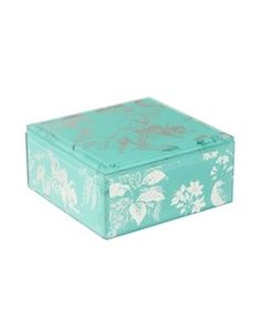 Butterfly Home by Matthew Williamson Glass aqua jewellery box- | Debenhams