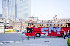 東京駅 行幸通りからこのスカイバスで一路挙式を行う東京タワーに向かいます