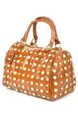 Brown Leatherette Round / Barrel Handbag w/ Gold Tone Studs & Hardware ~ $48.98