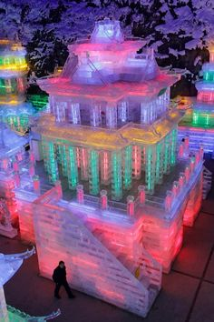 Colorful Ice Sculpture  Exhibition at Yanqing Ice Festival in Beijing China.