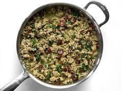 Add Broth to Greek Turkey and Rice Skillet