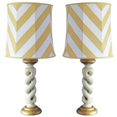 Pair of Italian 1980's white and gold lamp | From a unique collection of antique and modern table lamps at http://www.1stdibs.com/furniture/lighting/table-lamps/