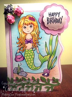 Mermaid Digi stamp, copic markers