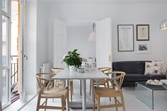 Love these wishbone chairs against the white. 79 Ideas