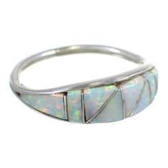 $29.99 Opal Inlay Sterling Silver Zuni Jewelry Ring Size 7 AX99412