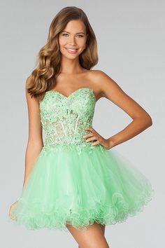 Cute&Sexy 2014 Homecoming Dresses Sweetheart Short/Mini A Line With Applique And Rhinestone