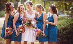 Teal blue bridesmaids dresses