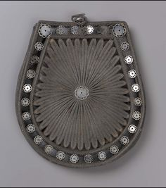 Spun steel bag, French, about 1810-25, Museum of Fine Arts, Boston, Accession# 43.1071