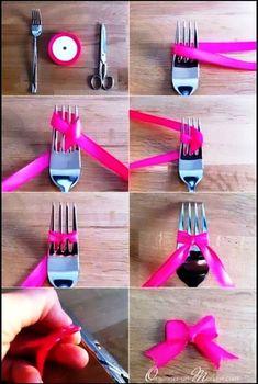 Diy : cute ribbon bow made using a fork diy как сделать бант Ribbon Crafts, Ribbon Bows, Paper Crafts, Ribbons, Ribbon Diy, Burlap Bows, Diy And Crafts, Arts And Crafts, Craft Projects