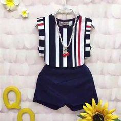2PCS Toddler Kid Baby Girl Clothes Ruffle T-shirt Tops+Bib