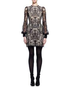 Long-Sleeve+Jewel-Neck+Lace+Dress,+Black/Flesh+by+Alexander+McQueen+at+Neiman+Marcus.