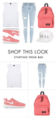 """""""Untitled #41"""" by nabillarmd ❤ liked on Polyvore featuring River Island, NIKE and Eastpak"""