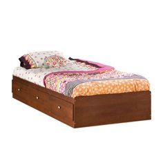 South Shore Furniture Jumper Collection 39-Inch Twin-Size Mates Bed, Classic Cherry