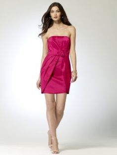 Strapless taffeta dress with inverted pleats. Trapunto stitch belt with bow [#P5070J22954645] - $168.00 : Crazeparty.com, Dare to be Different!