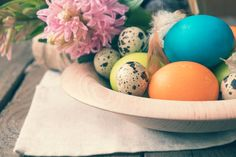 easter colorful and quail eggs