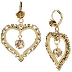 Betsey Johnson Throwback to Vintage BJ Heart Drop Earrings (44 BAM) ❤ liked on Polyvore featuring jewelry, earrings, crystal, drop earrings, vintage heart jewelry, rose earrings, vintage jewelry and rose jewellery