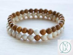 Couple Wooden/Fossil Natural Gemstone Bracelets 7-8'' Elasticated - Michael's UK Jewellery