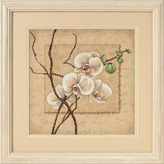 """Beautiful orchid blossoms are the focal point of this simple, yet elegant design. Our Oriental Orchids piece in counted cross stitch features Aida printed with a soft background. Counted cross stitch contains presorted cotton thread, gold metallic thread, 14 count beige Aida, needle, and easy instructions. Finished Size: 12"""" x 12"""" (30 x 30 cm). Designed by Lee Carlson. © 2006 Lee Carlson / Art In Motion."""