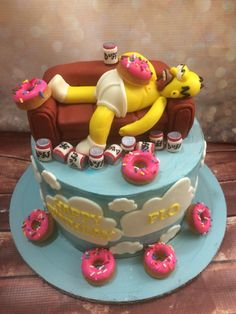 Homer Simpson cake. With edible mini donuts