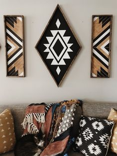 XL Aztec Diamond - - - 41 x - black and white chalk paint - dark stained wood frame - sawtooth hanger on the back for easy hanging. Decor Room, Living Room Decor, Diy Home Decor, Bedroom Decor, Bedroom Office, Bedroom Wall, Office Decor, Aztec Room, Aztec Decor