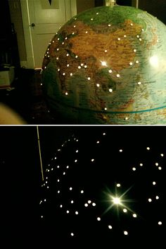 If you hit some flea markets and yard sales you'll likely find affordable cool globes.  This is a great idea for a kids room.  Globe by day, nightlight by night!