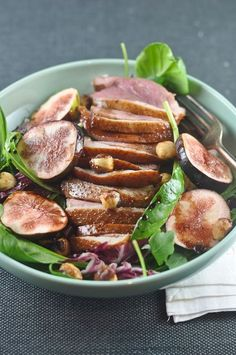 Duck Breast Salad with Figs & Hazelnuts (via Trissalicious)