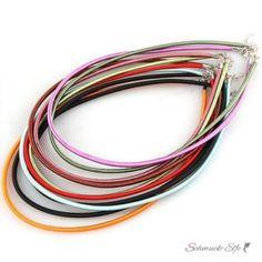 Kunststoff Collier mit farbigen Satin - Farbauswahl -