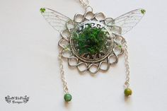 OOAK fairy moss forest wood jewelry necklace. Natural nature fairy necklace jewelry. Green fairy wings necklace jewelry