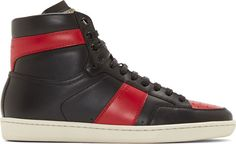 Saint Laurent Black & Red Court Classic High-Top Sneakers