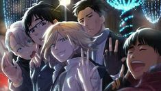 Otabek Altin x Yuri Plisetsky - Otayuri Viktor Nikiforov x Yuuri Katsuki - Viktuuri Phichit Chulanont Group picture Yuri! On Ice / Yoi Love On Ice, ユーリ!!! On Ice, Yuri On Ice, Haikyuu, Anime Guys, Manga Anime, Anime Nerd, Manga Art, Ice Pictures