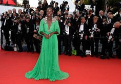 Lupita Nyong' in a gorgeous green Gucci dress at Cannes 2015
