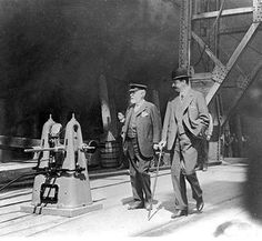 Lord Pirrie and Bruce Ismay inspecting Titanic just prior to her launch, 31 May 1911