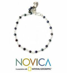 Pearl floral bracelet, 'Black Rose Horizon' at The Animal Rescue Site