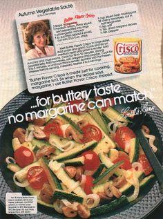 Autumn Vegetable Saute Recipe 1987 Crisco Ad with Loretta Lynn