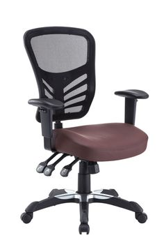 Articulate Office Chair in Brown (EEI-755-BRN)  Mark a turning point in your office tasks with this upright and ergonomic mesh office chair. Let the breathable mesh back and plush vinyl seat serve as a simple extension to your everyday home and business ventures.  #business #office #chairs #officechairs #furniture