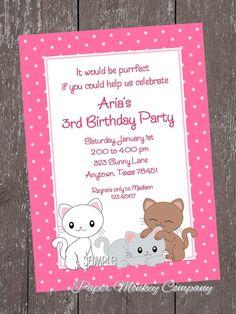 Kitten Birthday Invitation by PaperMonkeyCompany on Etsy, $1.00