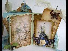 Shabby chic Blue flowers mini file folder scrapbook album
