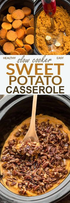 This recipe for Slow Cooker Sweet Potato Casserole, slow cooker, fall, winter, dinner