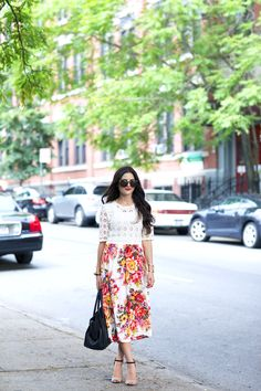 recreate this ASOS Dress with a crochet cropped top over printed floral midi skirt/dress