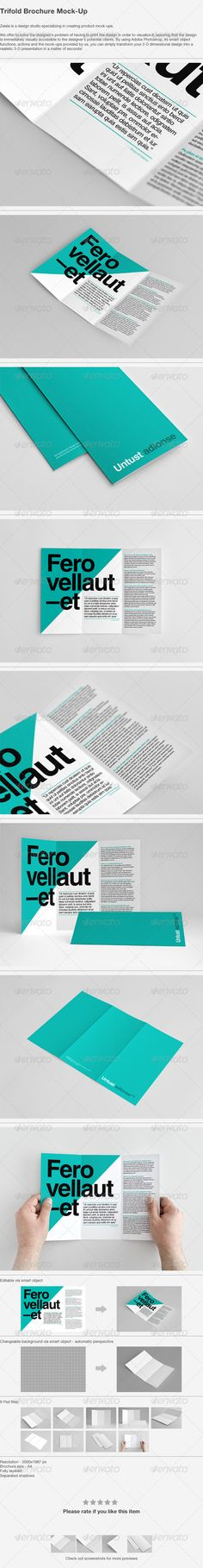 Buy Trifold Brochure Mock-Up by Zeisla on GraphicRiver. Features 9 Psd files Brochure size – Editable via smart object Resolution – Changeable background Update. Brochure Mockup, Brochure Design, Brochure Template, Mockup Photoshop, Graphic Design Templates, Business Flyer Templates, Business Card Logo, Tri Fold, Brochures
