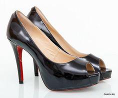 Туфли на каблуке Christian Louboutin. Натуральная кожа лакированная (глянцевая). Каблук 12см. (маломерки) #18645