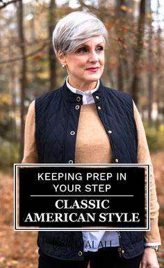 A puffer vest is a perfect way to add the prepster aesthetic to today's outfit. What is a preppy aesthetic? It's sporty, it's relaxed, loaded with striped oxford shirts, crewneck sweaters, pearls, and more pearls. It's a style that evolved from ivy league prep school uniforms into a relaxed classic American style. Visit Style At A Certain Age for the full outfit inspiration. #preppystyle #classicamerican #fallfashion Preppy Fashion, Preppy Style, Daily Fashion, Prep School Uniform, School Uniforms, Rowing Blazers, Oxford Shirts, Crewneck Sweaters, School Looks