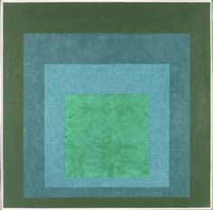 Josef Albers, Study for Homage to the Square (Terrassed Foliage), 1960 Oil on masonite (green, 2 blue-greens, green) JAAF: 1976.1.708. 76.2 x 76.2 cm (30 x 30 inches) ©2003 The Josef and Anni Albers Foundation / Artists Rights Society (ARS), New York