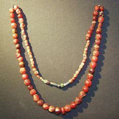 Anglo-Saxon amber necklace AD 450-550 From a female burial at Linton Heath in Cambridgeshire...