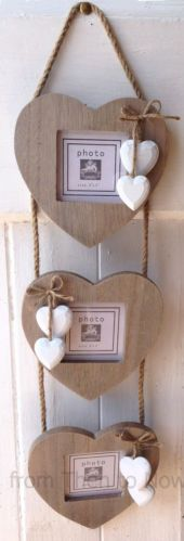 Chic-Shabby-Grey-Triple-3-Wooden-Hanging-Heart-Rustic-Photo-Frame-White-Hearts