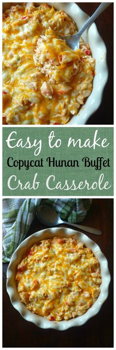 Copycat Crab Casserole from Hunan Chinese Buffet is a combination of crabmeat cabbage celery sweet red bell peppers mild cheddar cheese cream cheesesour cream mayo soy sa. Fish Recipes, Seafood Recipes, Appetizer Recipes, Cooking Recipes, Appetizers, Copycat Recipes, Celery Recipes, Seafood Meals, Supper Recipes