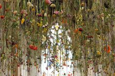 hanging flower installation by rebecca louise law